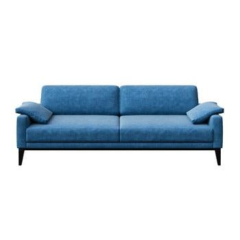 Canapea cu 3 locuri și picioare din lemn MESONICA Musso Regular, albastru imagine