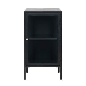Comodă cu uși de sticlă Unique Furniture Carmel, lungime 45,3 cm, negru poza bonami.ro