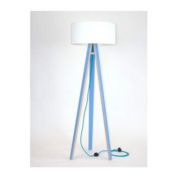 Lampadar cu abajur alb și cablu turcoaz Ragaba Wanda, albastru poza bonami.ro