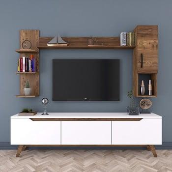 Set comodă TV cu 2 rafturi și dulap de perete Rani, alb-natural bonami.ro