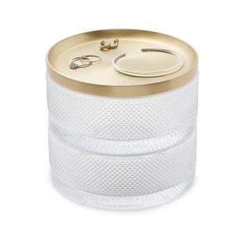 Cutie pentru bijuterii din sticlă și capac auriu Umbra Tesora bonami.ro