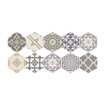 Set 10 autocolante de podea Ambiance Hexagons Vitas, 40 x 90 cm bonami.ro