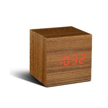Ceas deșteptător cu display LED roșu Gingko Cube Click Clock, maro bonami.ro