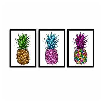Tablou din 3 piese Pineapple, 109 x 50 cm bonami.ro