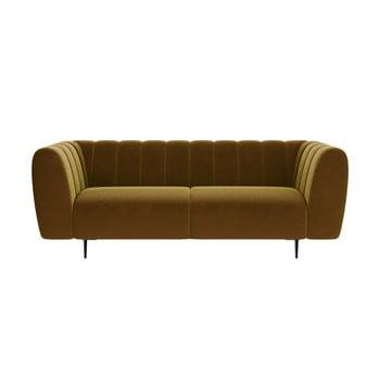 Canapea cu tapițerie din catifea Ghado Shel, 210 cm, galben închis - miere