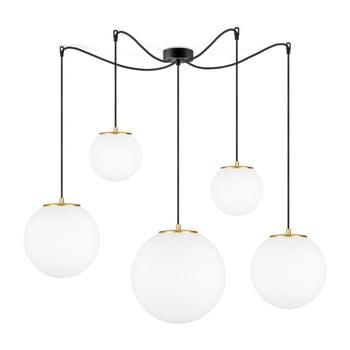 Lustră cu 5 cabluri și manșon auriu Sotto Luce TSUKI, alb imagine