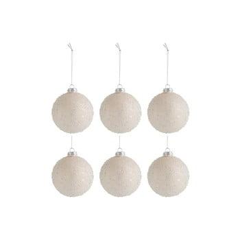 Set 6 globuri din sticlă pentru Crăciun J-Line Pearls, ø 8 cm, bej bonami.ro