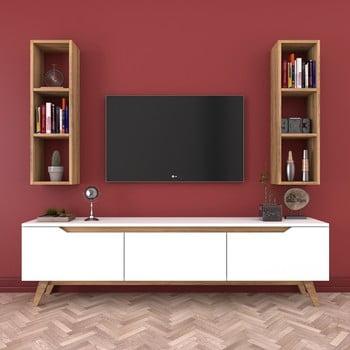 Set comodă TV și 2 etajere de perete Wren Natural, alb-natural imagine