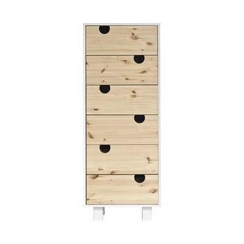 Comodă cu șase sertare Karup Design House White/Natural poza bonami.ro