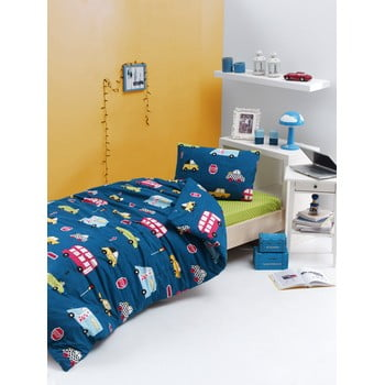 Lenjerie de pat din bumbac ranforce pentru pat de 1 persoană Mijolnir Paula Blue, 140 x 200 cm poza bonami.ro