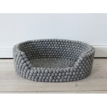 Pat cu bile din lână pentru animale de companie Wooldot Ball Pet Basket, 60 x 40 cm, gri oțel imagine