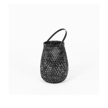 Felinar din bambus Compactor Bamboo Lantern, ⌀ 18 cm, negru bonami.ro