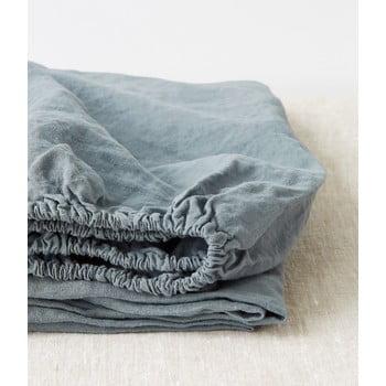 Cearșaf elastic din in Linen Tales, 180 x 200 cm, albastru deschis imagine