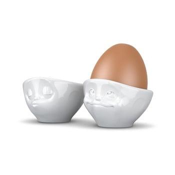 Set 2 suporturi din porțelan pentru ouă, 58products Kissing & Dreamy, alb poza bonami.ro