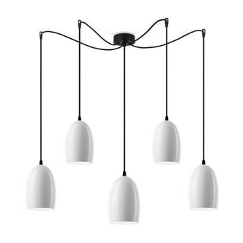 Lustră cu 5 abajururi cu cablul negru Sotto Luce Ume, alb lucios imagine