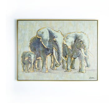 Tablou pictat manual Graham & Brown Elephant Family, 80 x 60 cm imagine
