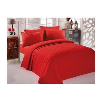 Cuvertură din bumbac pentru pat de o persoană Single Pique Rojo, 160 x 235 cm bonami.ro