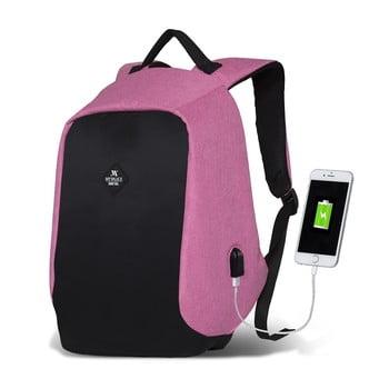 Rucsac cu port USB My Valice SECRET Smart Bag, negru-roz bonami.ro