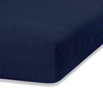 Cearceaf elastic AmeliaHome Ruby, 200 x 80-90 cm, albastru închis bonami.ro