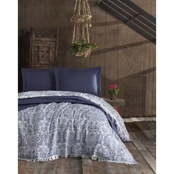 Cuvertură din bumbac pentru pat dublu EnLora Home Nish Dark Blue, 240 x 260 cm, albastru închis poza bonami.ro