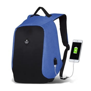 Rucsac cu port USB My Valice SECRET Smart Bag, negru-albastru bonami.ro