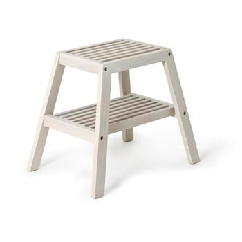Scaun din lemn de stejar Wireworks Slatted Stool, gri bonami.ro