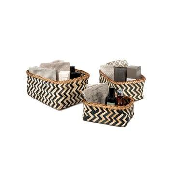 Set 3 coșulețe de depozitare din bambus Compactor Natural And Black bonami.ro