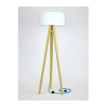 Lampadar cu abajur alb şi cablu turcoaz Ragaba Wanda, galben imagine