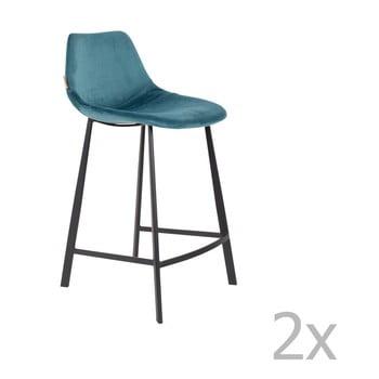 Set 2 scaune bar cu tapițerie catifelată Dutchbone, înălțime 91 cm, albastru petrol imagine