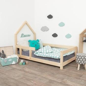 Pat tip căsuță din lemn pentru copii, cu protecție laterală pe partea stângă Benlemi Poppi, 90 x 180 cm imagine