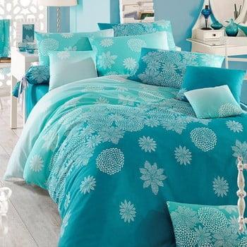 Lenjerie de pat cu cearșaf pentru pat dublu Simay, 200x220cm, turcoaz bonami.ro