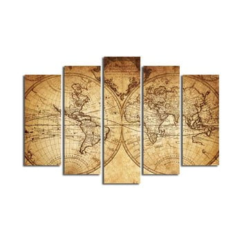 Tablou din mai multe piese Big Map Of The World, 105 x 70 cm poza bonami.ro