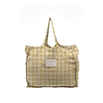 Geantă textilă Linen Couture Linen Bag Yellow Vichy poza bonami.ro