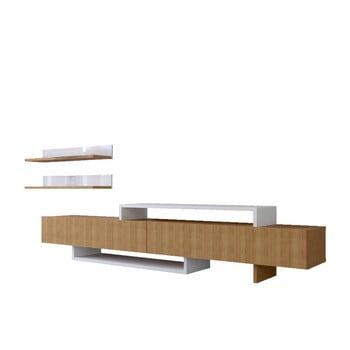 Set comodă TV și raft de perete cu aspect de lemn de tec Furny Home Nirvana, alb-natural imagine
