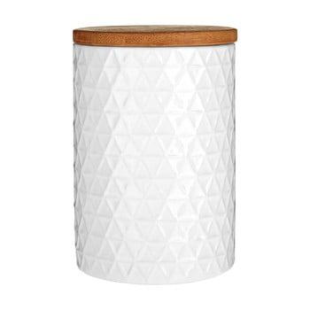 Recipient cu capac din lemn de bambus Premier Housewares Tri, ⌀ 10 cm, alb bonami.ro