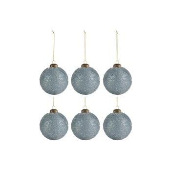 Set 6 globuri pentru Crăciun J-Line Sugar, ø 8 cm, albastru - gri bonami.ro