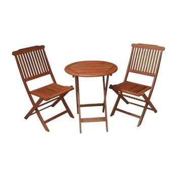 Set masă și 2 scaune din lemn de eucalipt pentru balcon ADDU Prague imagine