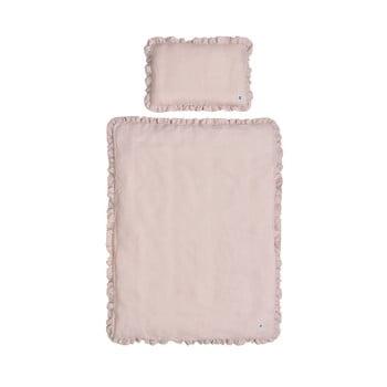 Lenjerie de pat din in cu umplutură pentru copii BELLAMY Dusty Pink, 140 x 200 cm, roz imagine