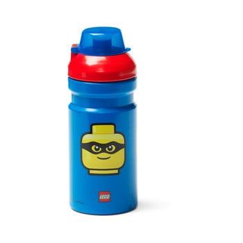 Sticlă pentru apă cu capac roşu LEGO® Iconic, 390 ml, albastru poza bonami.ro