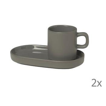 Set 2 cești cu farfurioară pentru espresso din ceramică Blomus Pilar, 50 ml, gri închis bonami.ro