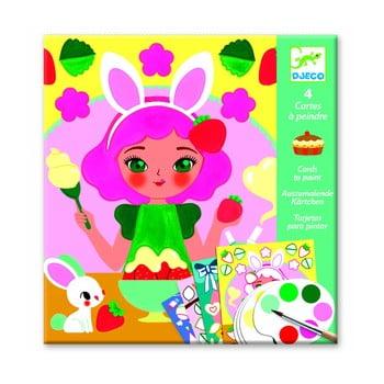 Set carte de colorat cu acuarele Djeco Sweet Girls poza bonami.ro