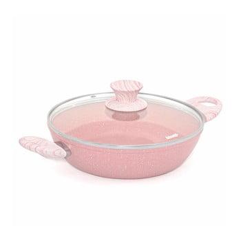 Oală cu capac Bisetti Stonerose Tegame,ø24cm, roz poza bonami.ro