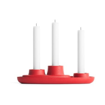 Sfeșnic EMKO Aye Aye Three Candle, roșu poza bonami.ro