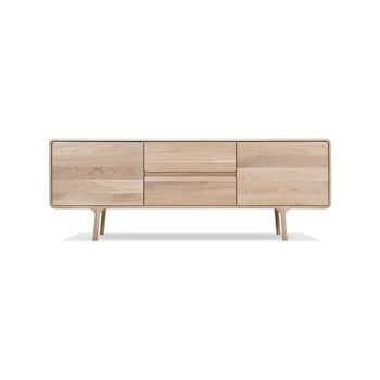 Comodă TV din lemn masiv de stejar Gazzda Fawn imagine