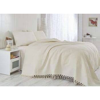 Cuvertură subțire pentru pat single Saheser Pique Cream, 180x240cm bonami.ro
