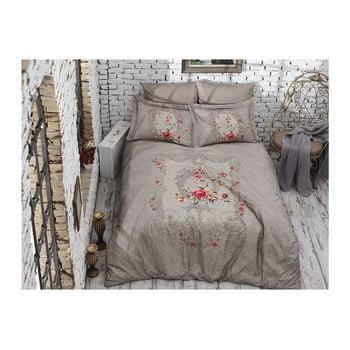 Lenjerie de pat din bumbac satinat și cearșaf Lilyanna, 200 x 220 cm imagine