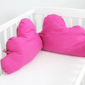 Protecție din bumbac pentru pătuț Happy Friday Basic, 60x40cm, roz fucsia poza bonami.ro