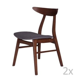 Set 2 scaune din lemn de cauciuc cu șezut gri închis sømcasa Salma bonami.ro
