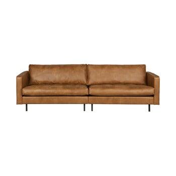 Canapea cu 3 locuri din piele reciclată BePureHome Rodeo, maro cognac