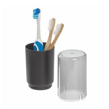 Pahar cu capac pentru periuțele de dinți iDesign Austin, negru bonami.ro